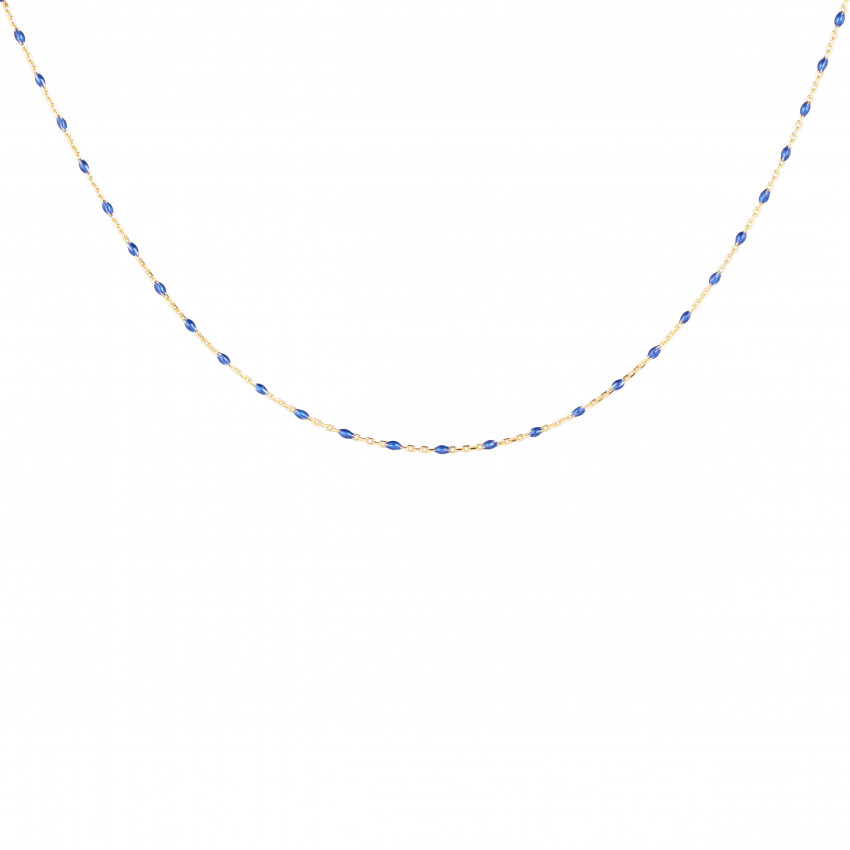 Letters Beaded Neck Blue Gold