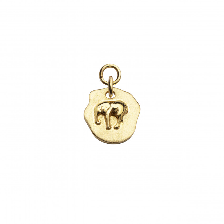 Letters Elephant Pendant Hoops Gold