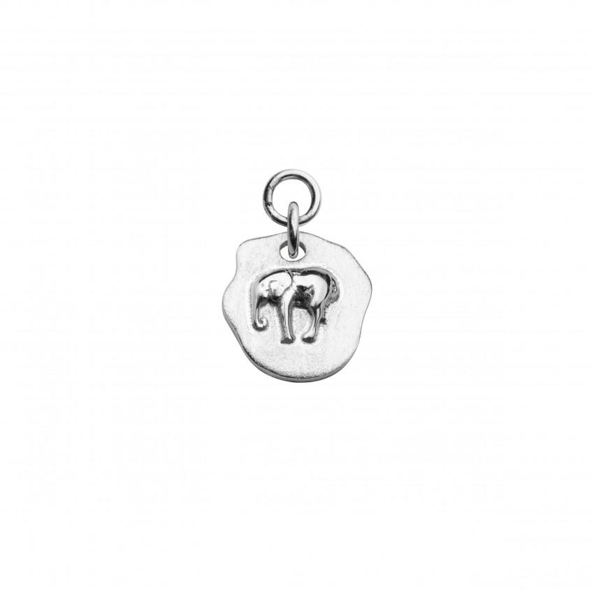 Letters Elephant Pend Hoop Silver