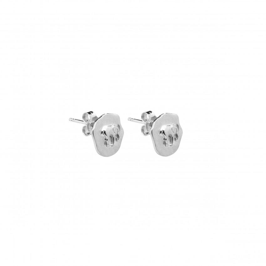 Letters Elephant Stud Ear Silver