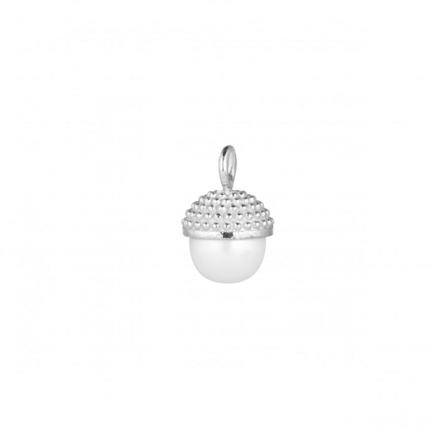 Letters Pearl Bubble Pendant Silver